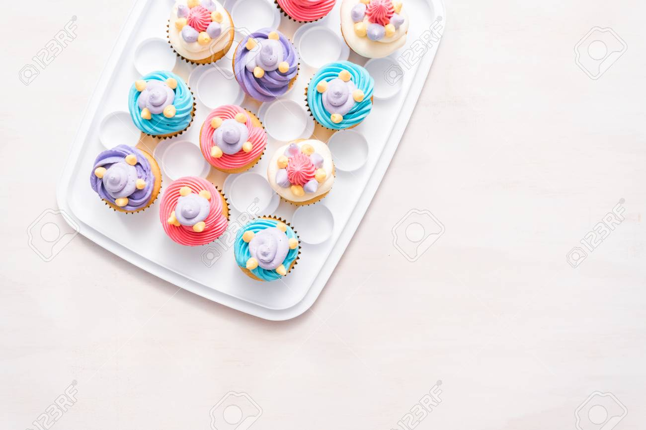 Unicorn Theme Vanilla Cupcakes For Kids Birthday Party Stock Photo