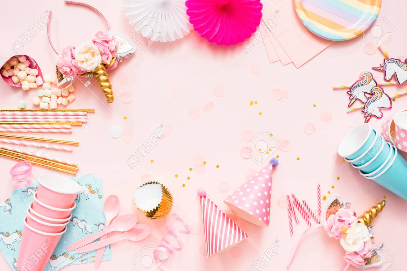 Birthday Party In Unicorn Theme On Pink Flat Lay Stock Photo