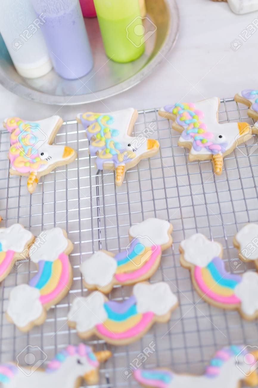 Decorating Unicorn Themed Sugar Cookies With Royal Icing
