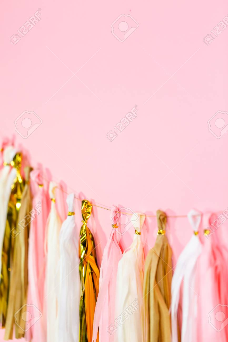 Paper Tassel Garland On A Pink Wall At The Kids Birthday Party Stock Photo Picture And Royalty Free Image Image 112027891