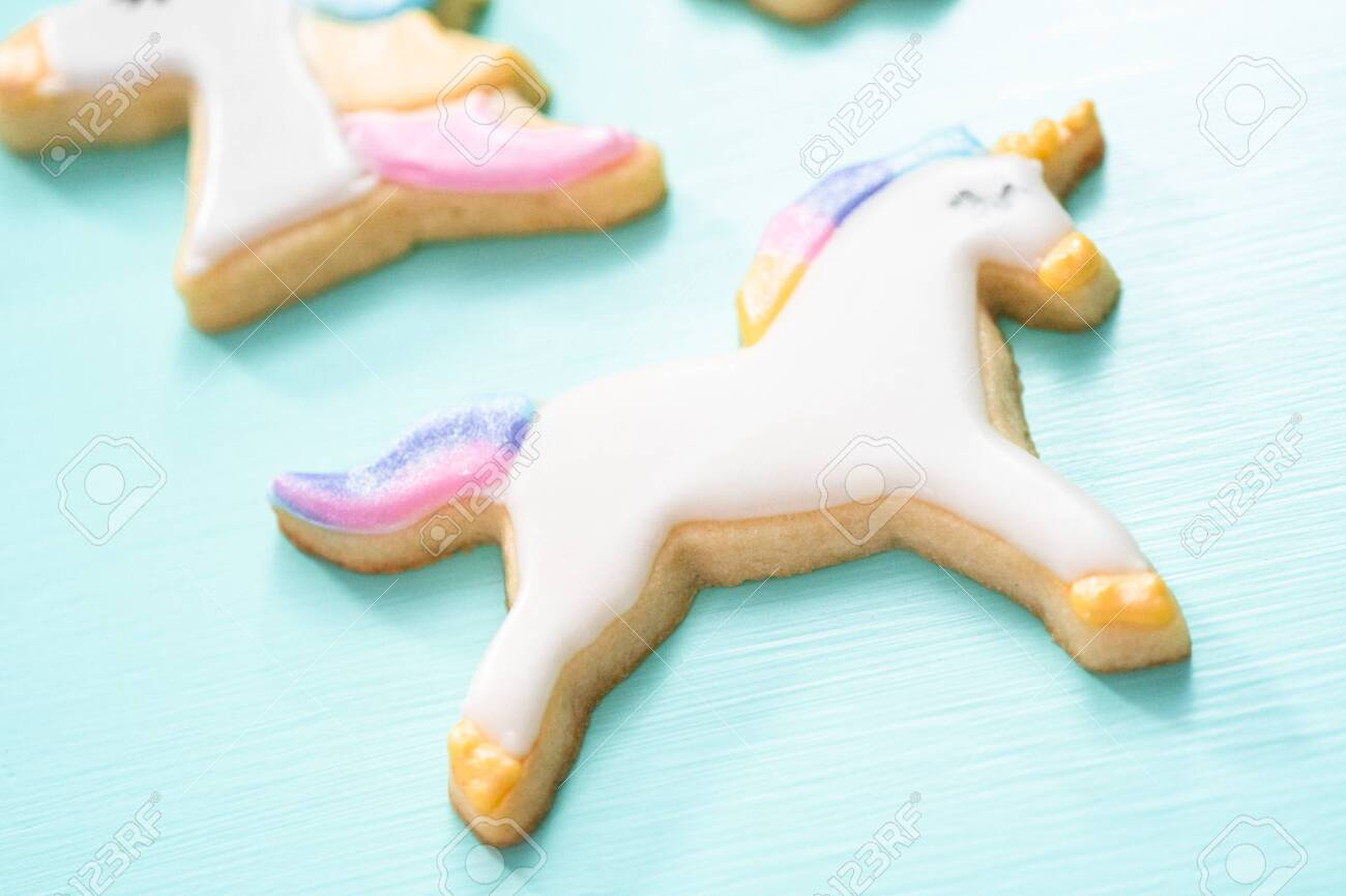 Unicorn Sugar Cookies Decorated With Royal Icing And Food Glitter Stock Photo Picture And Royalty Free Image Image 124370139