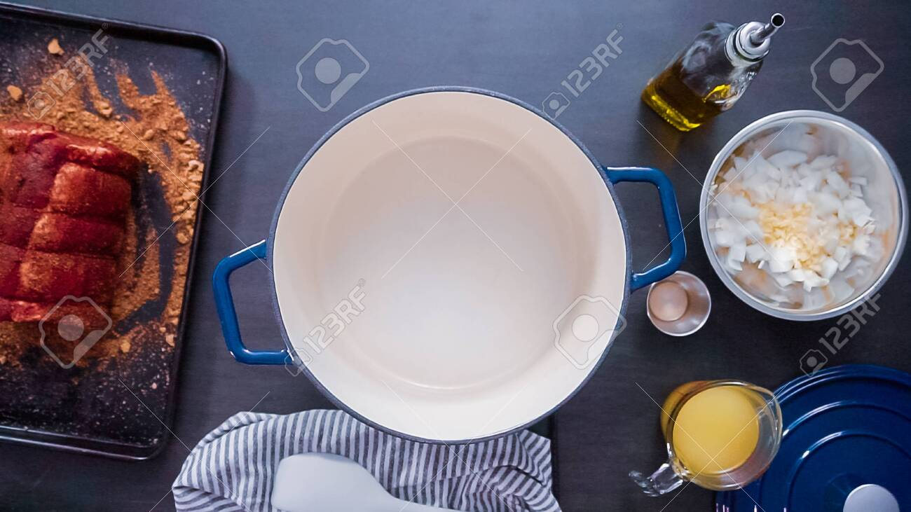 Flat Lay Step By Step Cooking Boneless Pork Roast In Cast Iron Stock Photo Picture And Royalty Free Image Image 126593426