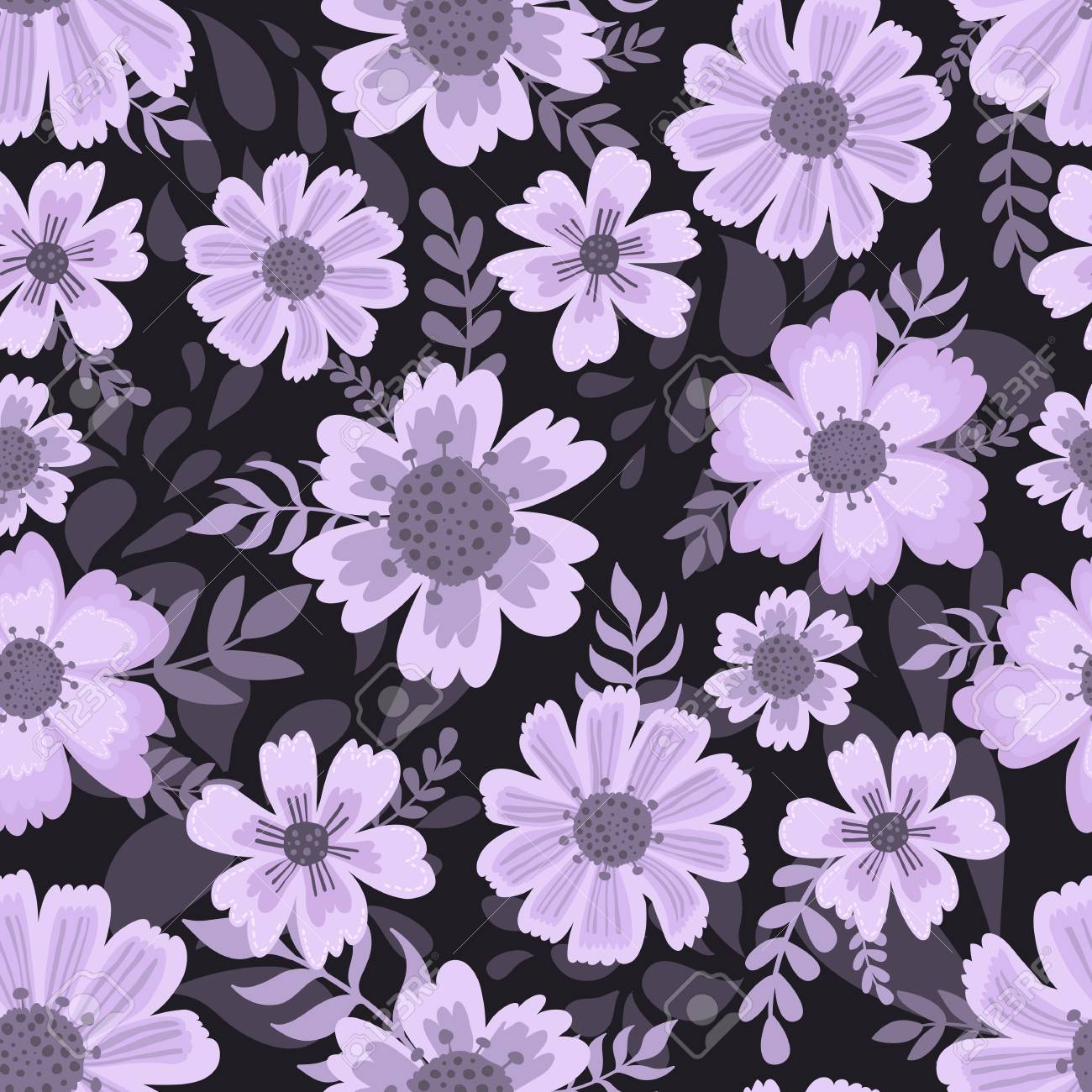 Cute Pattern In Flower Dark Background Ditsy Floral Background