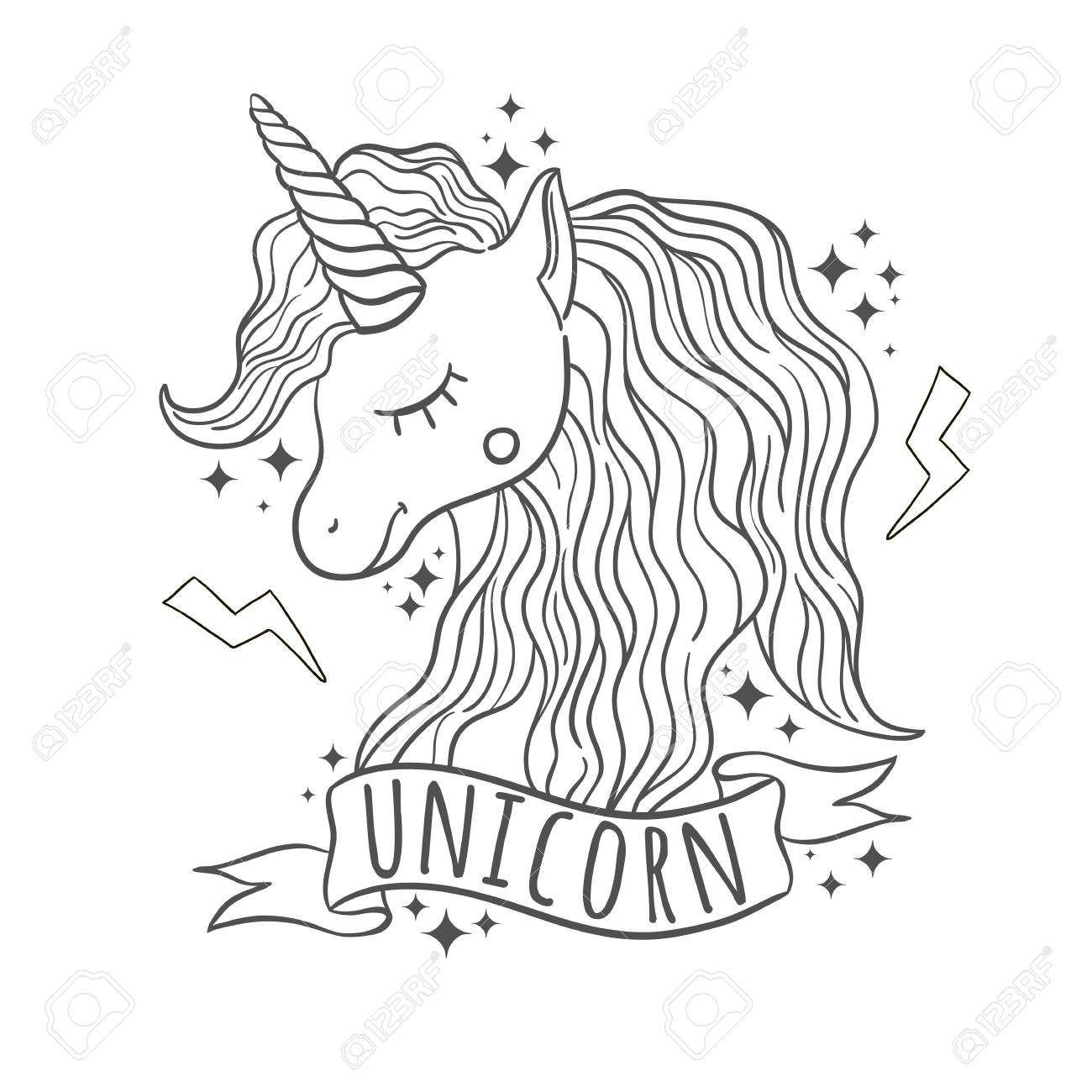 Cute black and white unicorn for prints in white background hand draw illustration stock