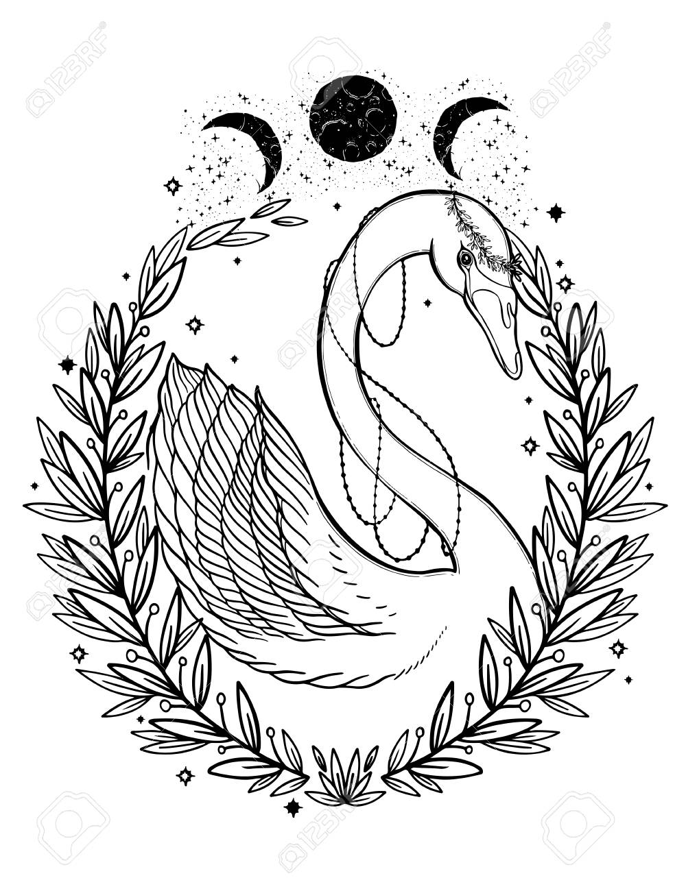Sketch graphic illustration Beautiful Swan fairytale character with mystic and occult hand drawn symbols. Vector illustration. Vintage Hands with Old Fashion Tattoos.Freemasonry and secret societies emblems - 114858507