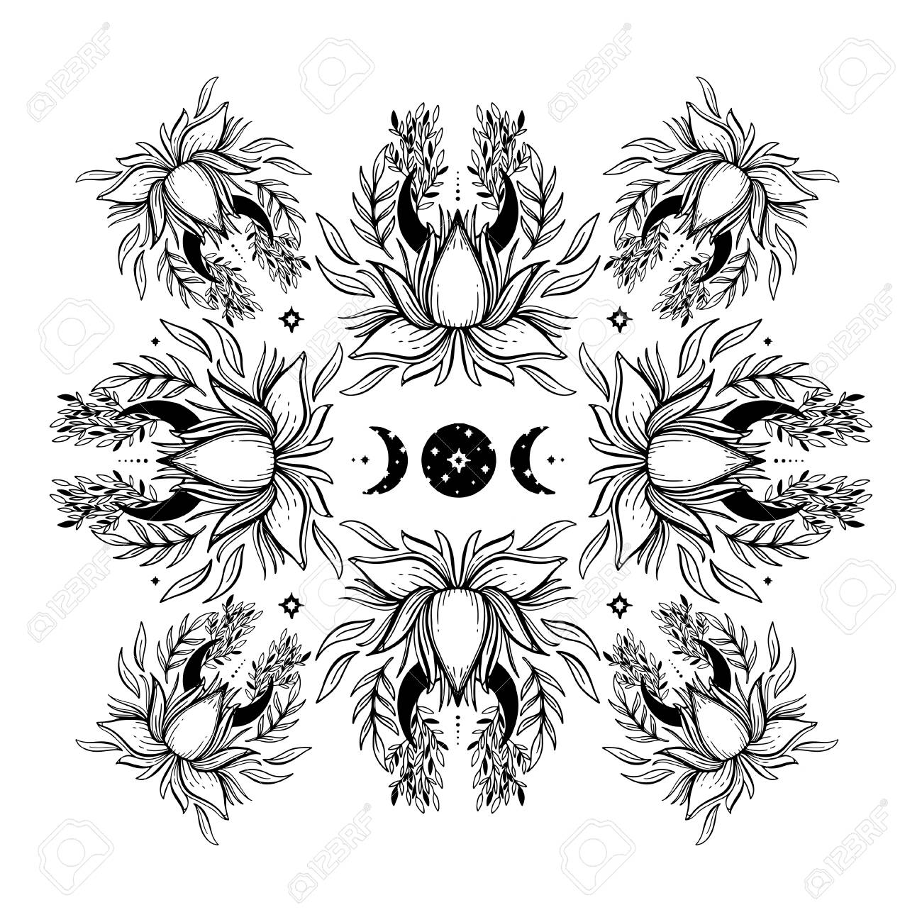 Sketch Graphic Illustration Beautiful Lotus Mandala With Buddhism Sign Spiritual Sacred And Occult Hand Drawn