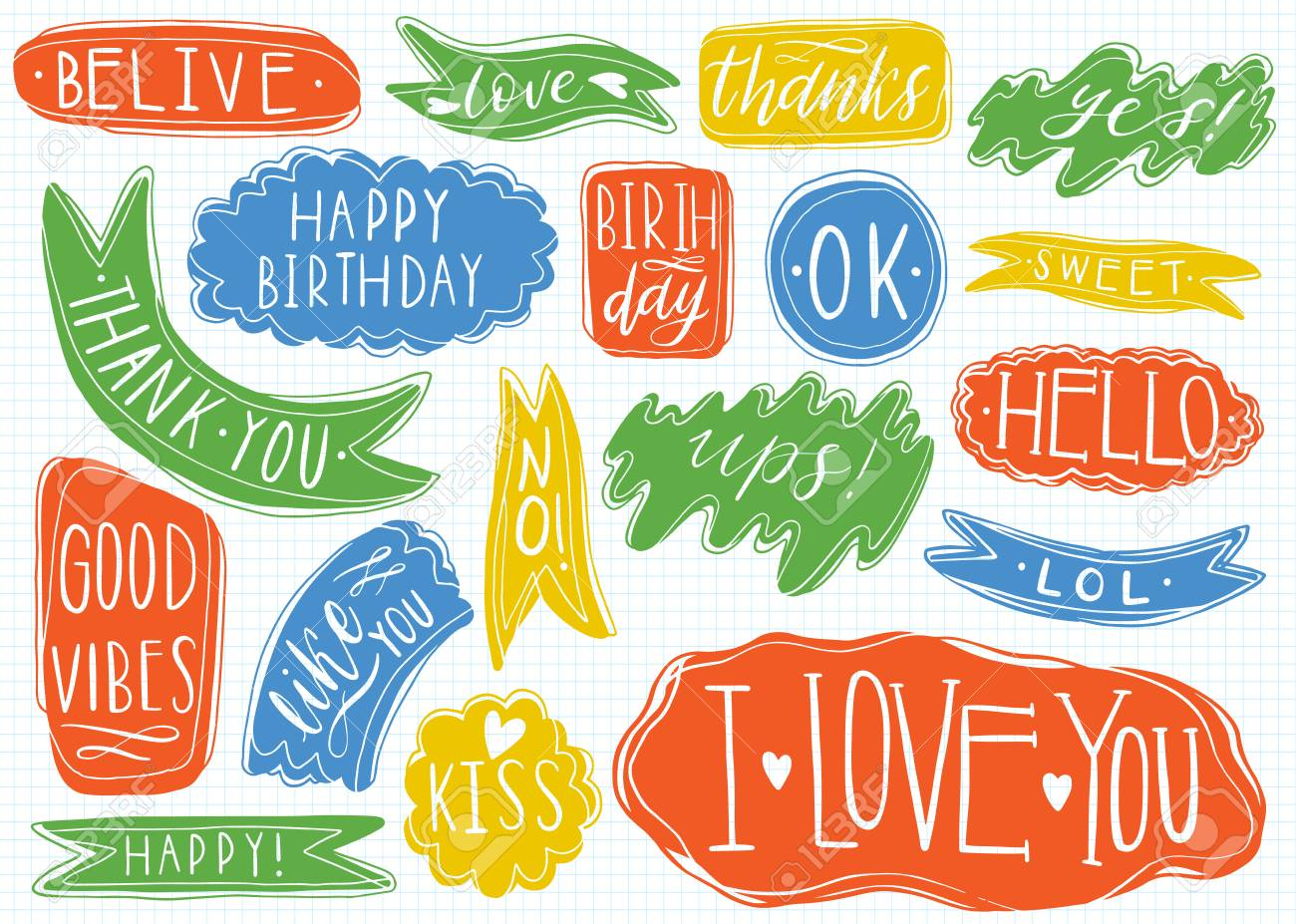 Hand Drawn Set Of Speech Bubbles With Handwritten Short Phrases Yes Thank You I