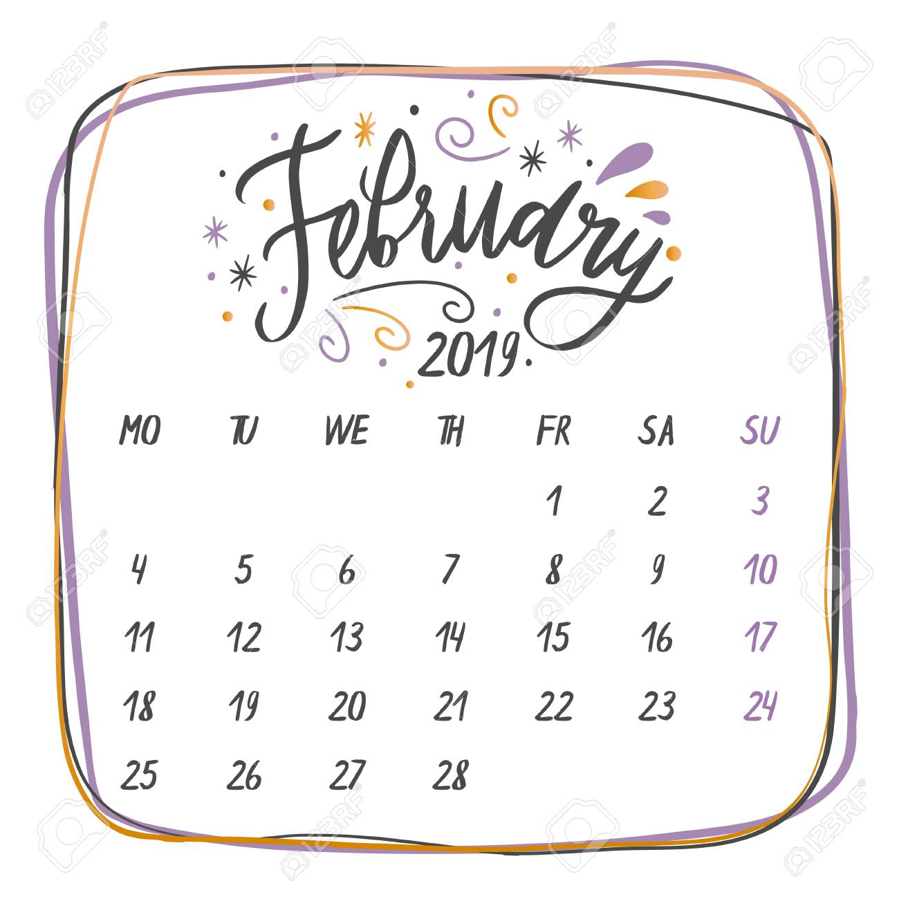 February 2019 Calligraphy Calendar Handwritten Names Of Months: February Calligraphy Words For