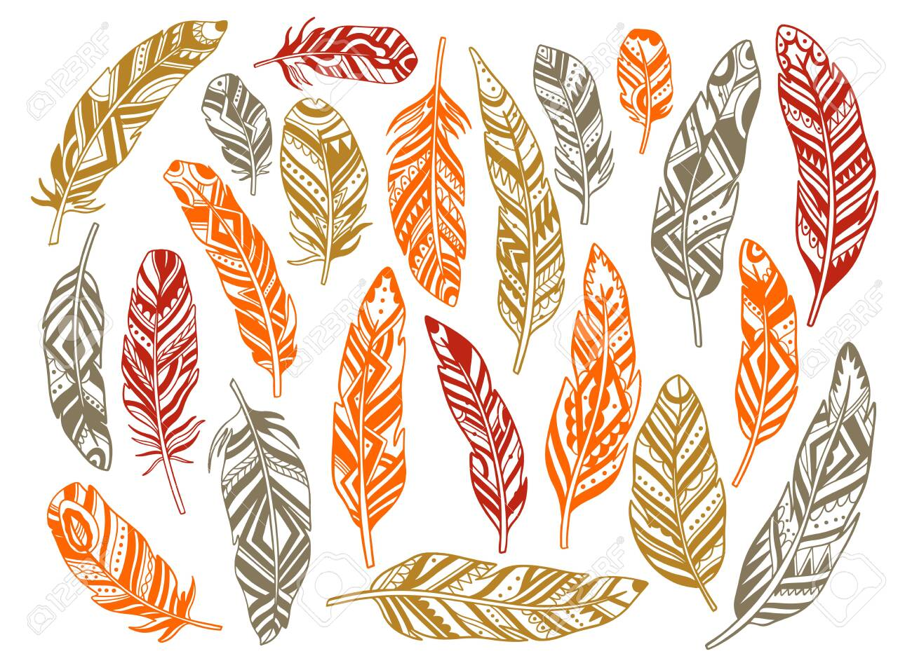 Set feather abstract isolated decoration. Boho rustic style. Vector illustration. - 154523613