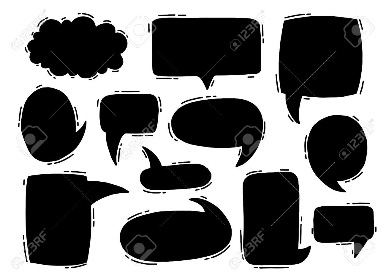 Collection hand drawn communicate speech. Design element business message. Vector illustration. - 157108159