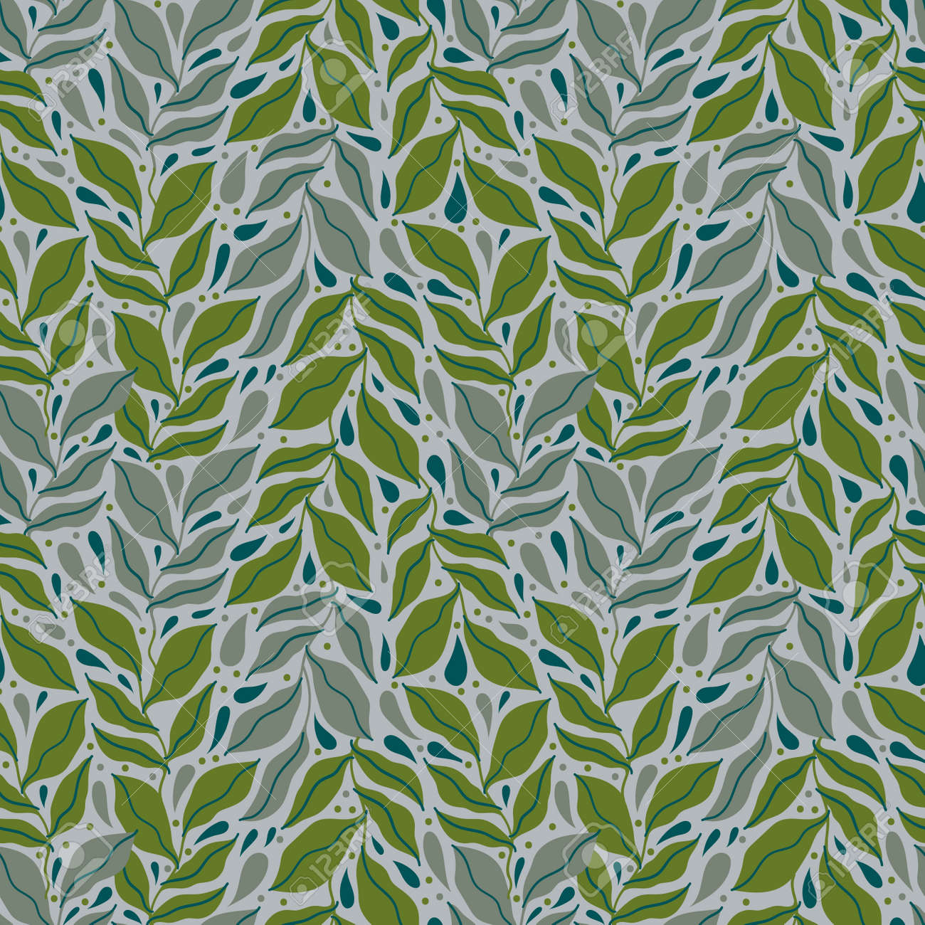 Seamless pattern leaves plant .Floral motif nature abstract print.Modern summer background. - 169556229