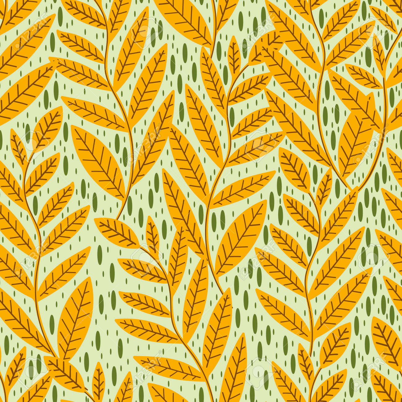 Seamless pattern leaves plant .Floral motif nature abstract print.Modern summer background. - 169556230