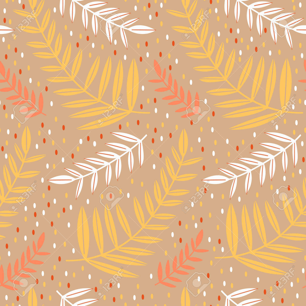 Seamless pattern leaves plant .Floral motif nature abstract print.Modern summer background. - 170424790