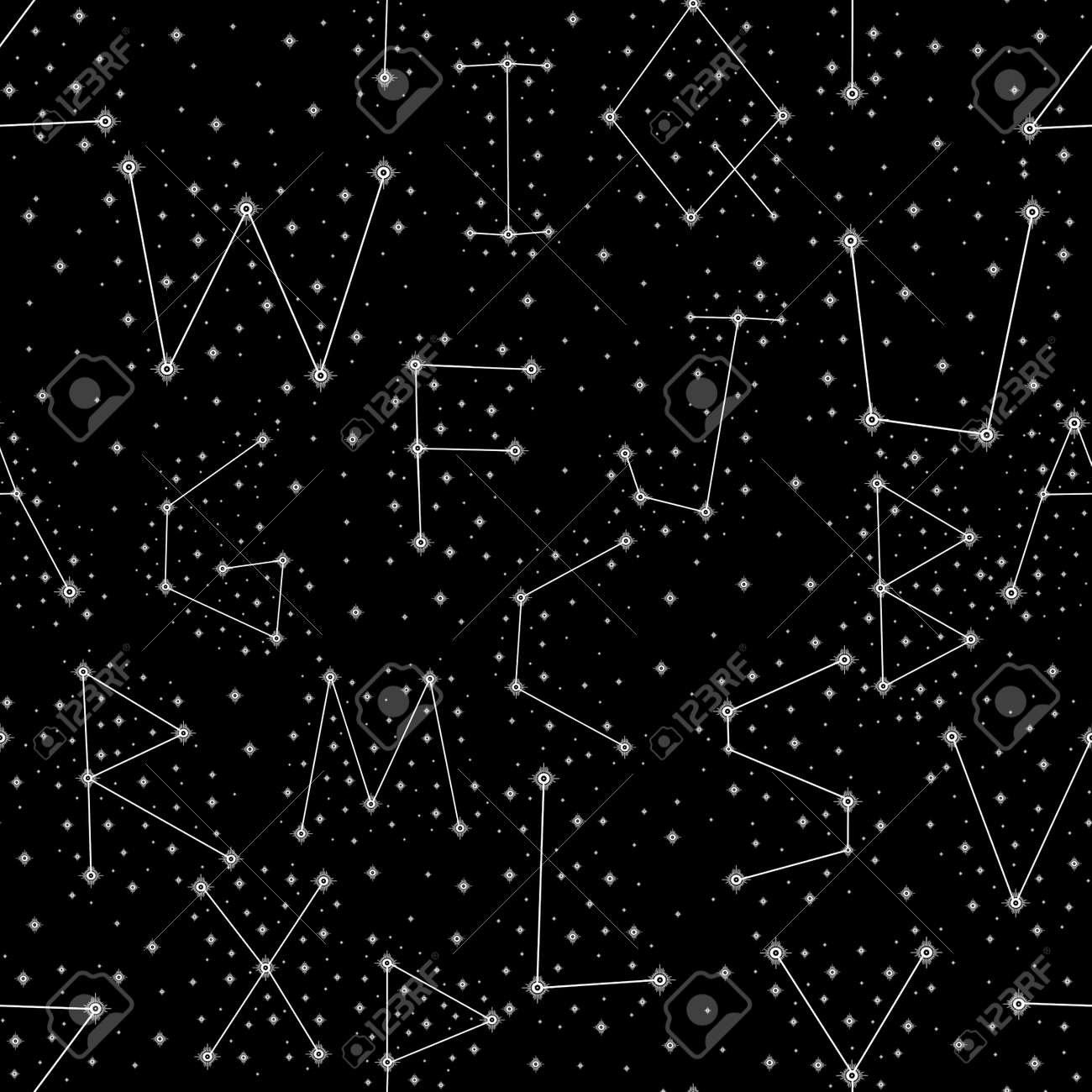Seamless pattern alphabet constellations abstract symbol space.Astrology background doodle style. - 170424871