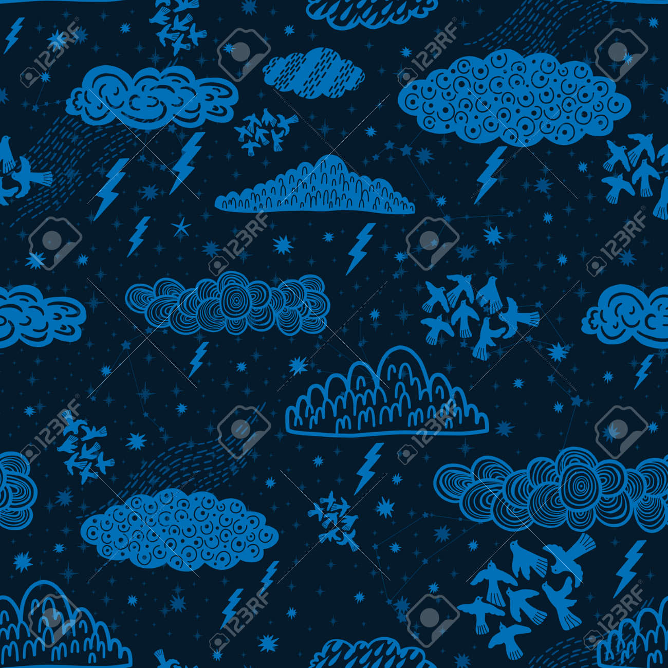 Seamless pattern cloud abstract symbol space.Astrology background doodle style. - 170424875