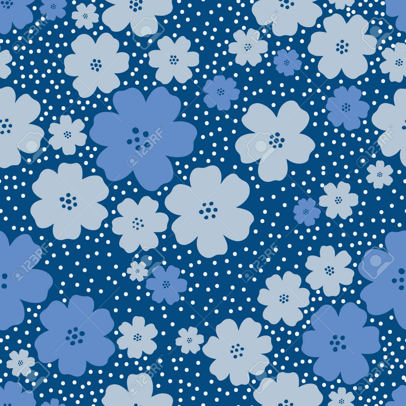Seamless pattern flower design.Print botanical textile fabric fashion.Modern vintage style. - 170424887