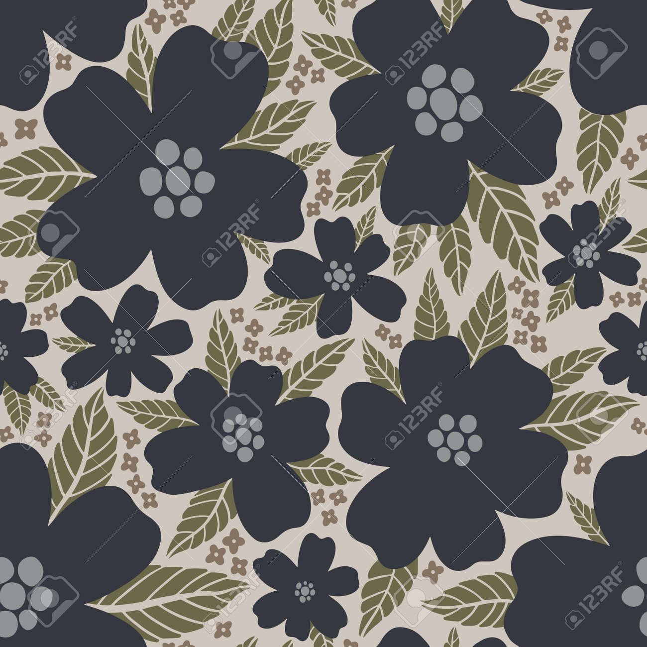 Seamless pattern floral flower abstract.Botanical vintage nature background.Print fashion textile. - 171023076