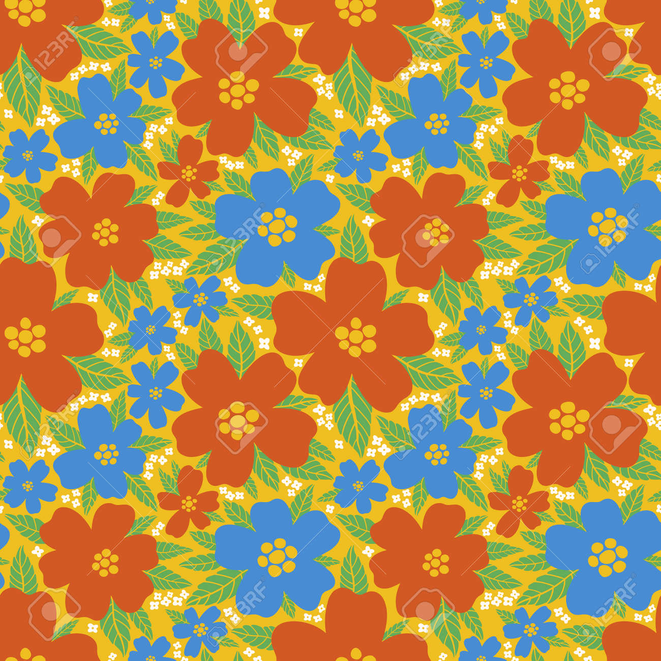 Seamless pattern floral flower abstract.Botanical vintage nature background.Print fashion textile. - 171023075