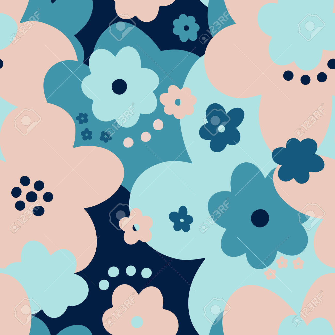Seamless pattern floral abstract.Botanical vintage nature background.Print fashion textile. - 171303268