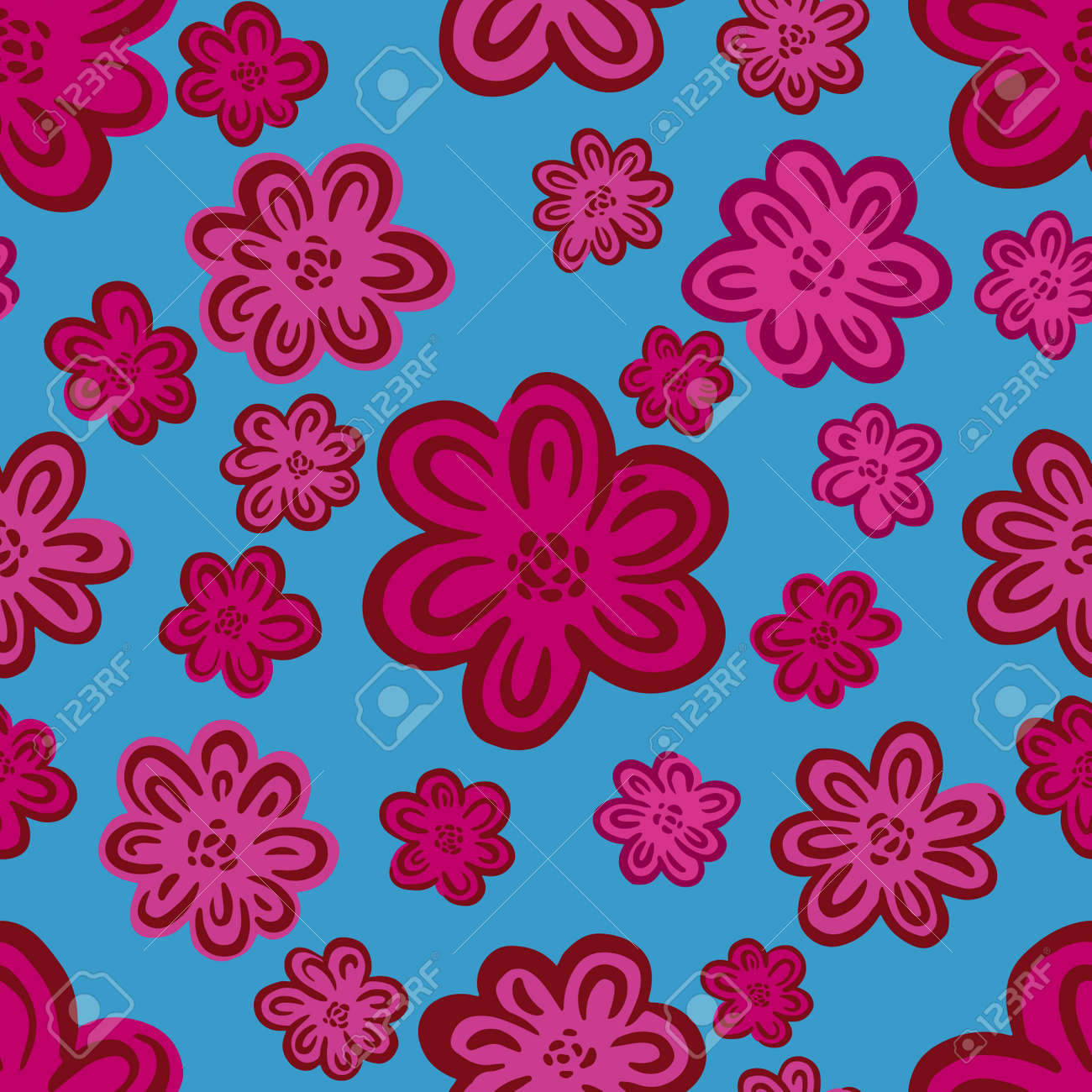 Seamles pattern ditsy small flower.Hand drawn print of textile.Vintage floral design - 171744102