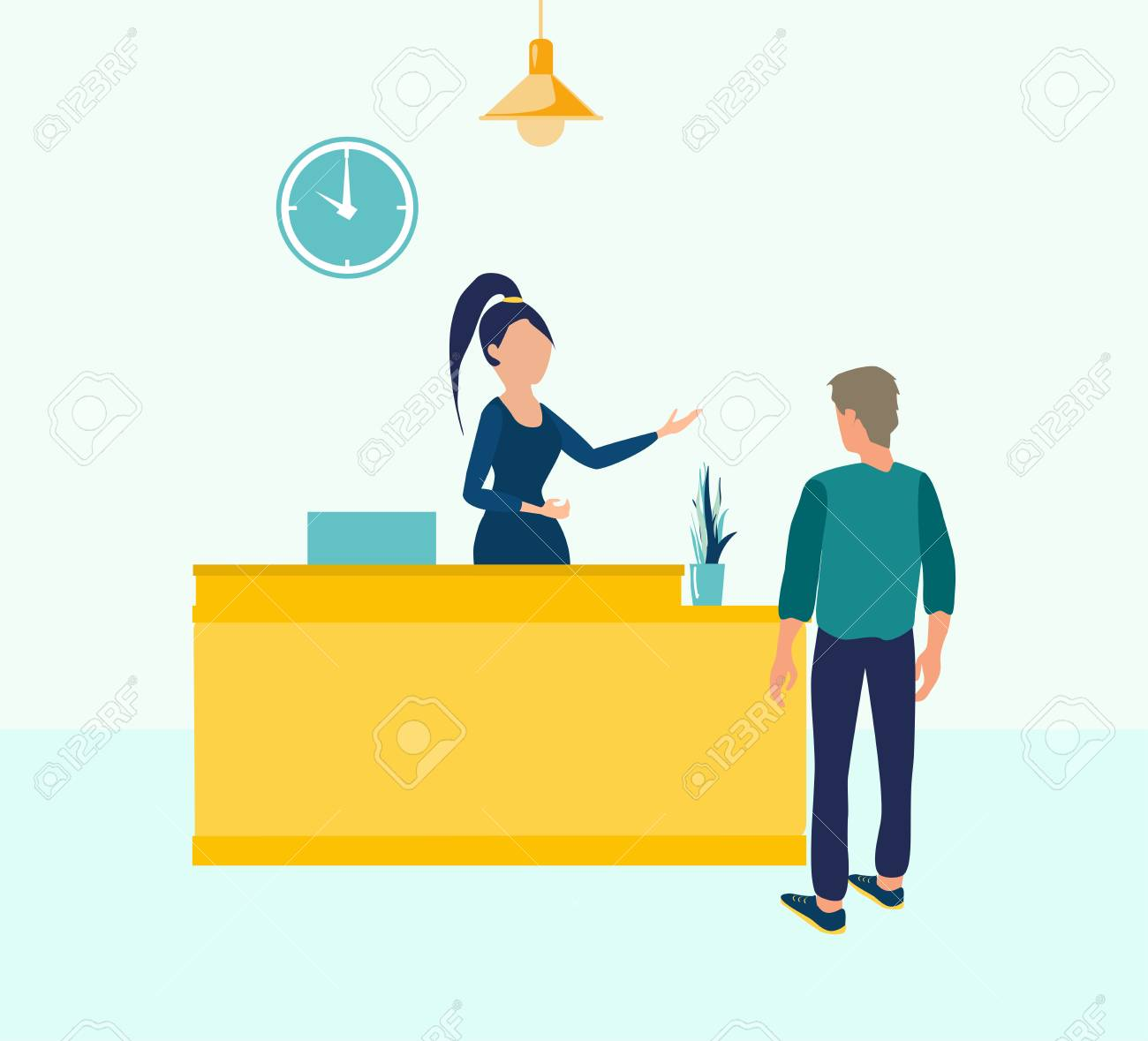Customer At Reception Young Woman Receptionist Standing At Reception Royalty Free Cliparts Vectors And Stock Illustration Image 111441066