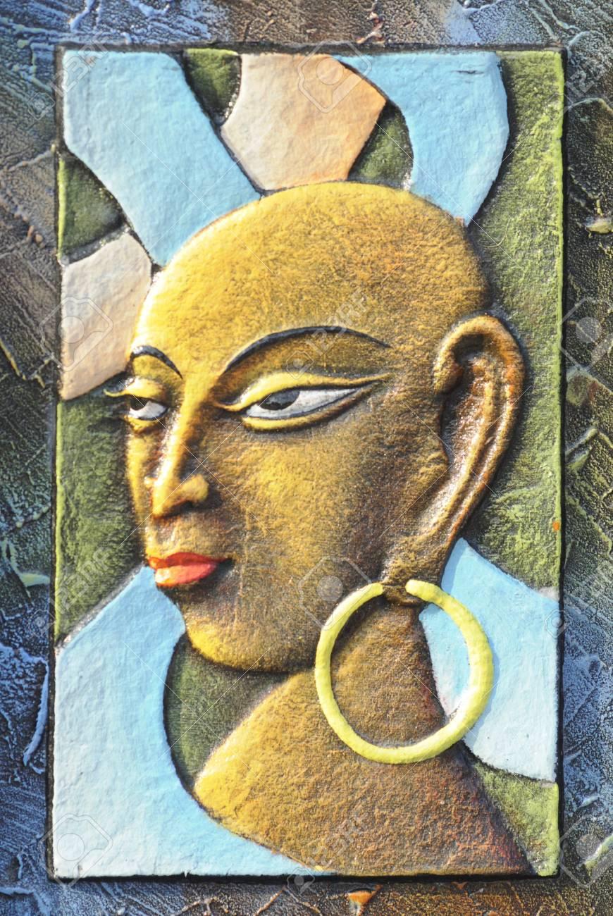 Kolkata 23 Februar Eine Abstrakte Kunst Eines Stammes Intelligente Frau Auf Dem Display Wahrend Der Handwerksmesse In Kolkata Der Grosste Seiner Art In Asien Am Februar 23 2011 In Kolkata Indien Stock Foto Lizenzfreie