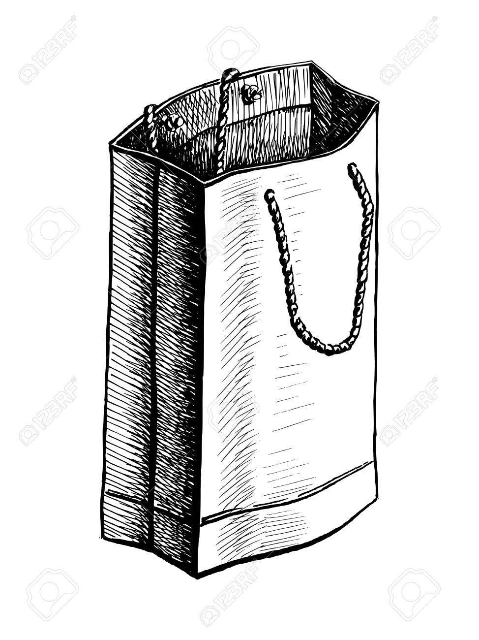 Paper bag sketch - Vector Hand Drawn Vector Sketch Illustration Of Paper Bag