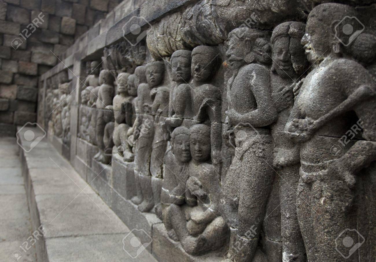 Relief in Borobudur Temple Stock Photo - 10587563