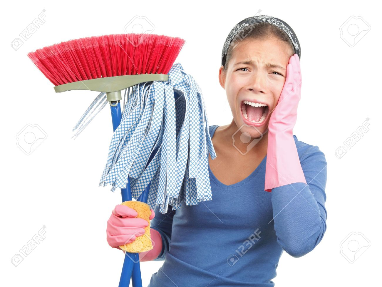 spring cleaning despair - oh no! woman upset and fed up about