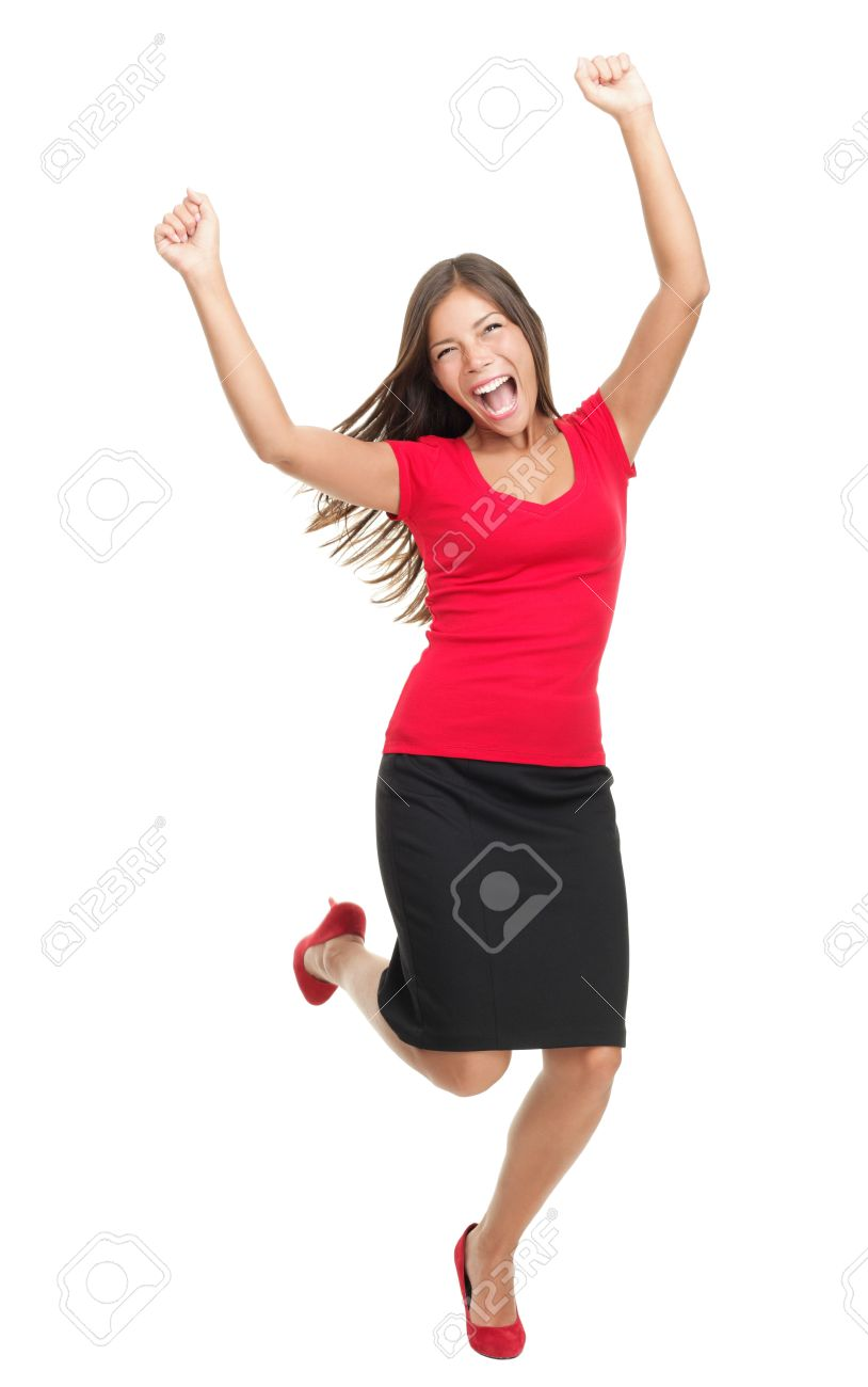 success winner w casual young successful businessw stock photo success winner w casual young successful businessw jumping very excited isolated in full body on white background