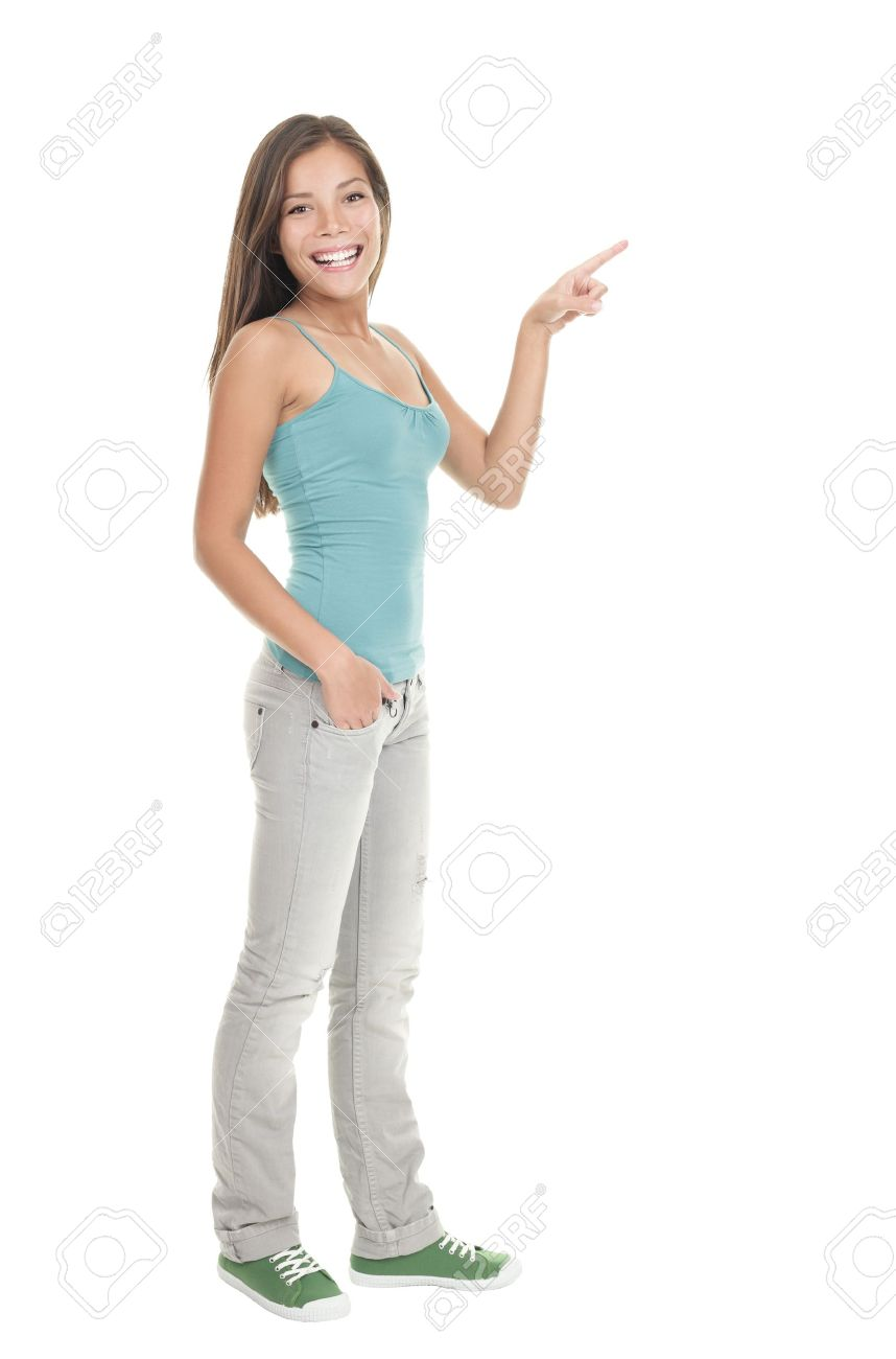 woman pointing to the side standing in full length isolated