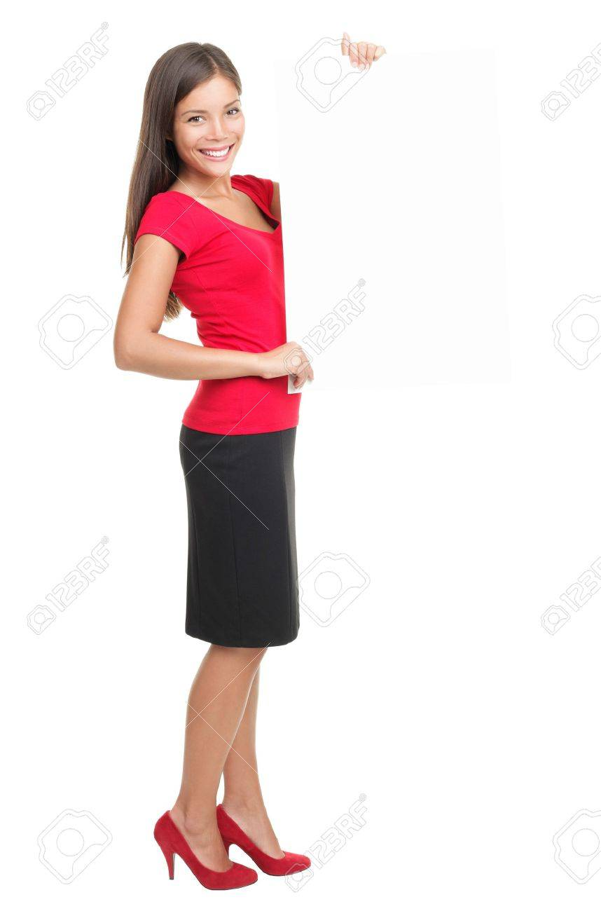business woman showing sign paper standing on white background. Stock Photo - 7439151