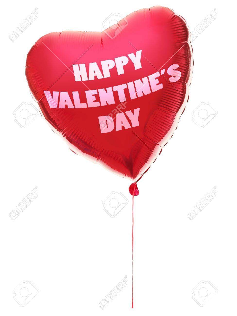 valentines day balloon heart shaped with text: happy valentines day. Red heart Isolated on white background. Stock Photo - 8591270