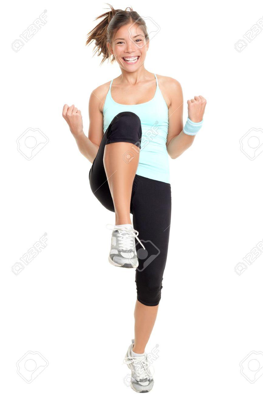 Fitness Frau Aerobic. Frische Energie Erwachsen Fitness Instructor ...