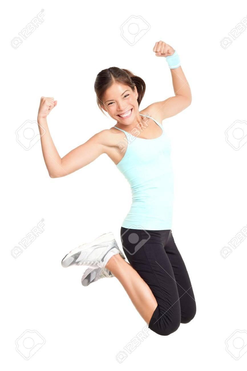 Fitness Frau Springen Aufgeregt Isolated On White Background. Volle ...