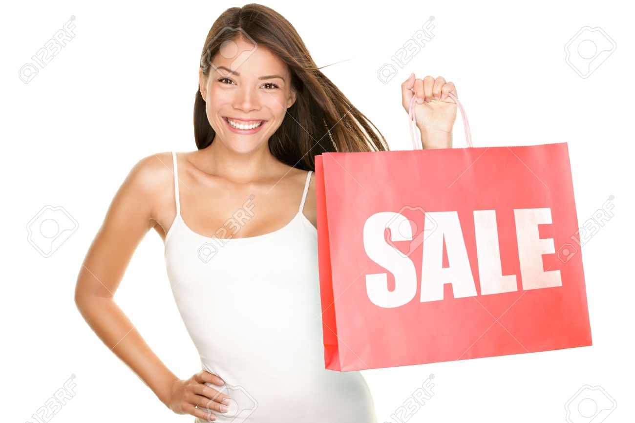 Shopping Sale Woman Showing Shopping Bag With Sale Written ...