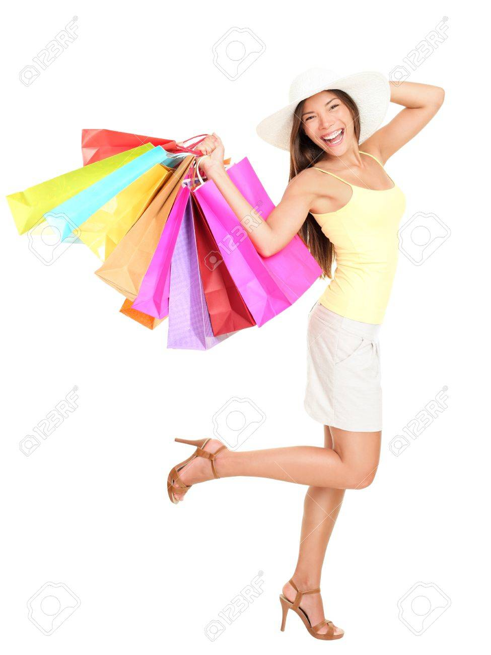 Asian Shopping Woman Happy Smiling Holding Many Shopping Bags ...