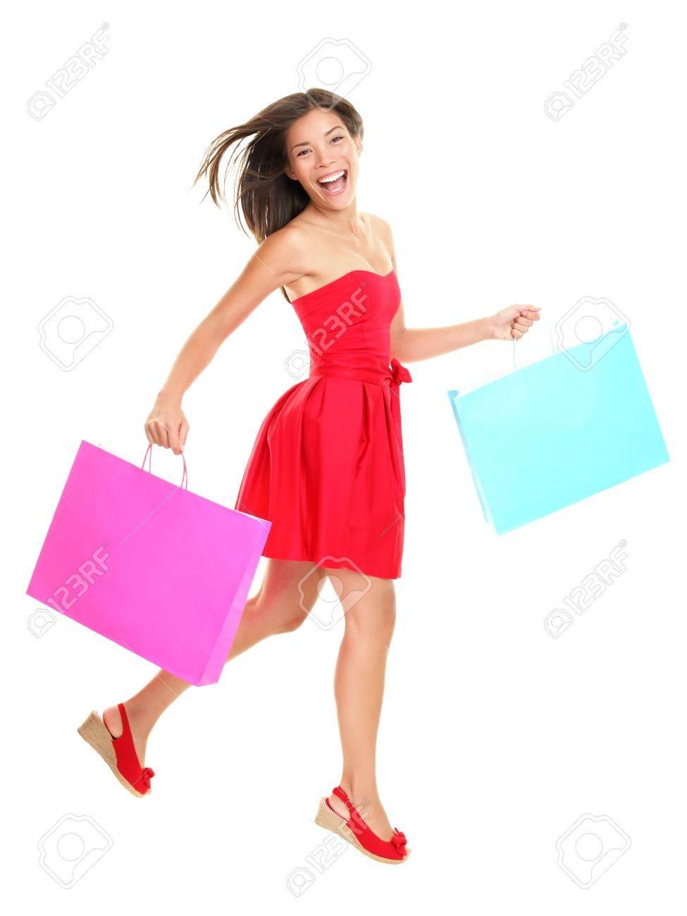Comprador - Mujer Compras Celebración Bolsas Con Vestido Rojo De Verano.  Asia Joven Caminando Jovial Y Sonriente Aislado En Todo El Cuerpo Sobre  Fondo ... 4d52d3371d7a