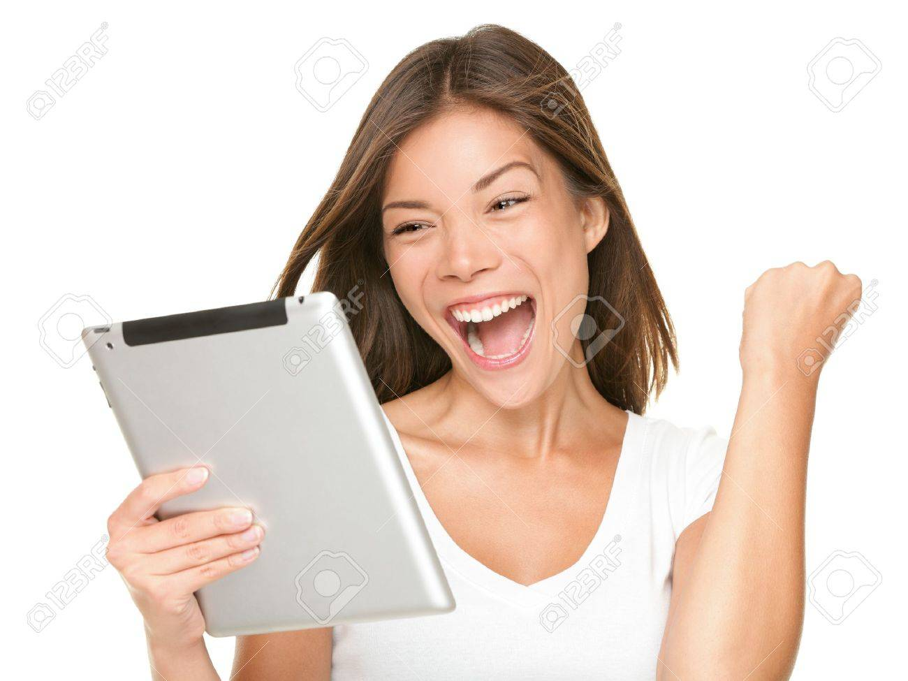 Tablet computer woman excited looking at touch pad pc. Cheerful happy fresh Asian Caucasian female model. Stock Photo - 9952956