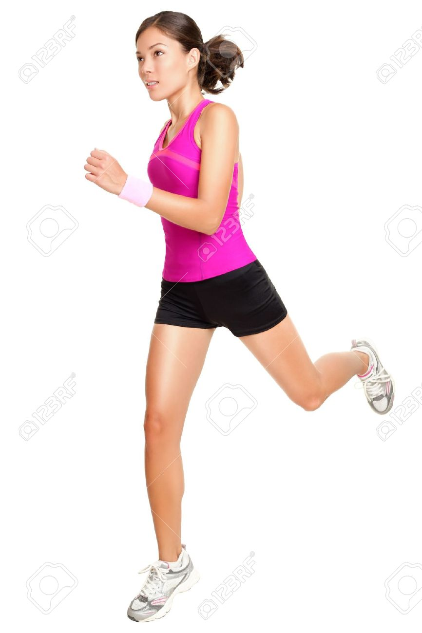 Running fitness woman isolated. Female runner in sporty pink fitness outfit jogging isolated on white background. Beautiful mixed race Asian Caucasian fitness model training. Stock Photo - 10097666