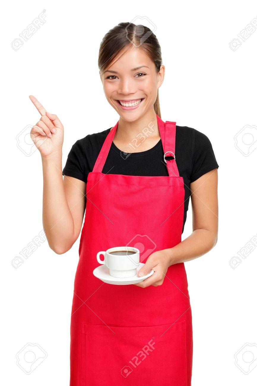 White rubber apron - White Apron Green Thumb Stock Photo Waitress Or Barista Pointing Holding Coffee Woman In Apron