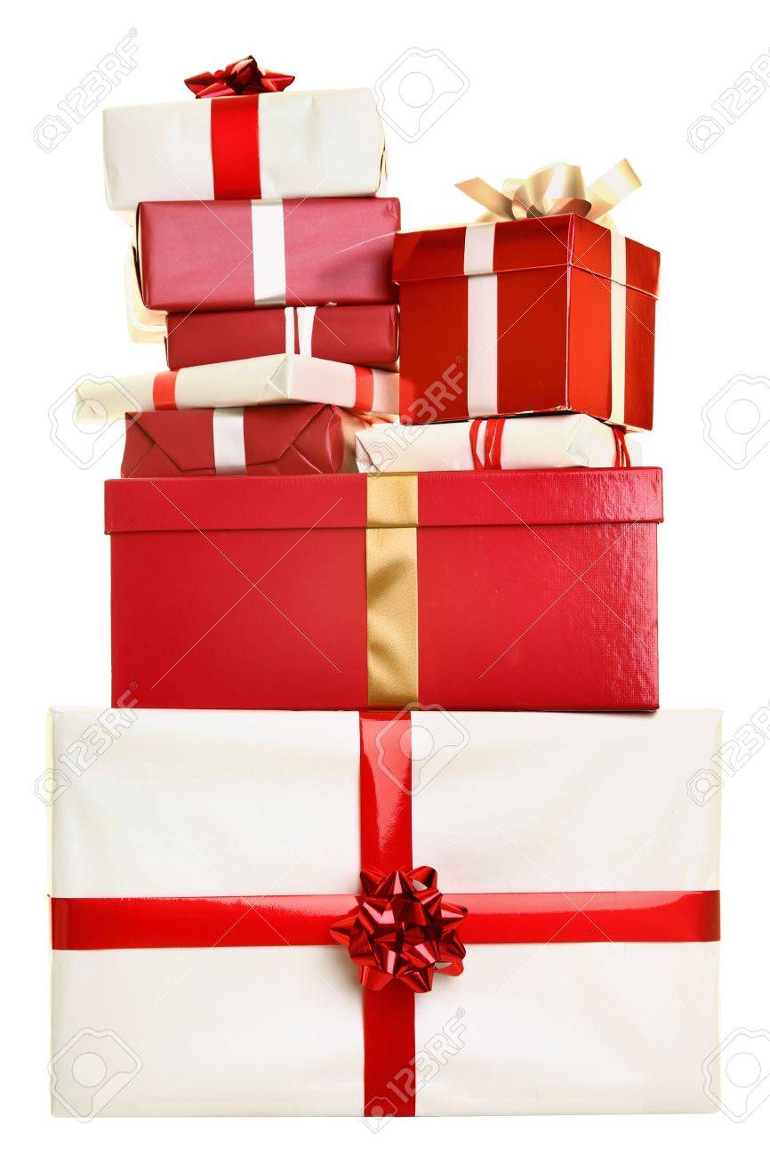 Christmas Gifts Isolated Pile Of Presents Stacked On White Background Red And