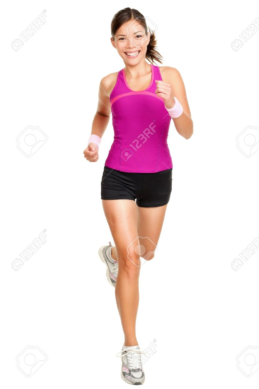 Runner woman isolated. Running fit fitness sport model jogging smiling happy isolated on white background. Beautiful mixed race Chinese Asian / white Caucasian fitness girl training. Stock Photo - 11285987