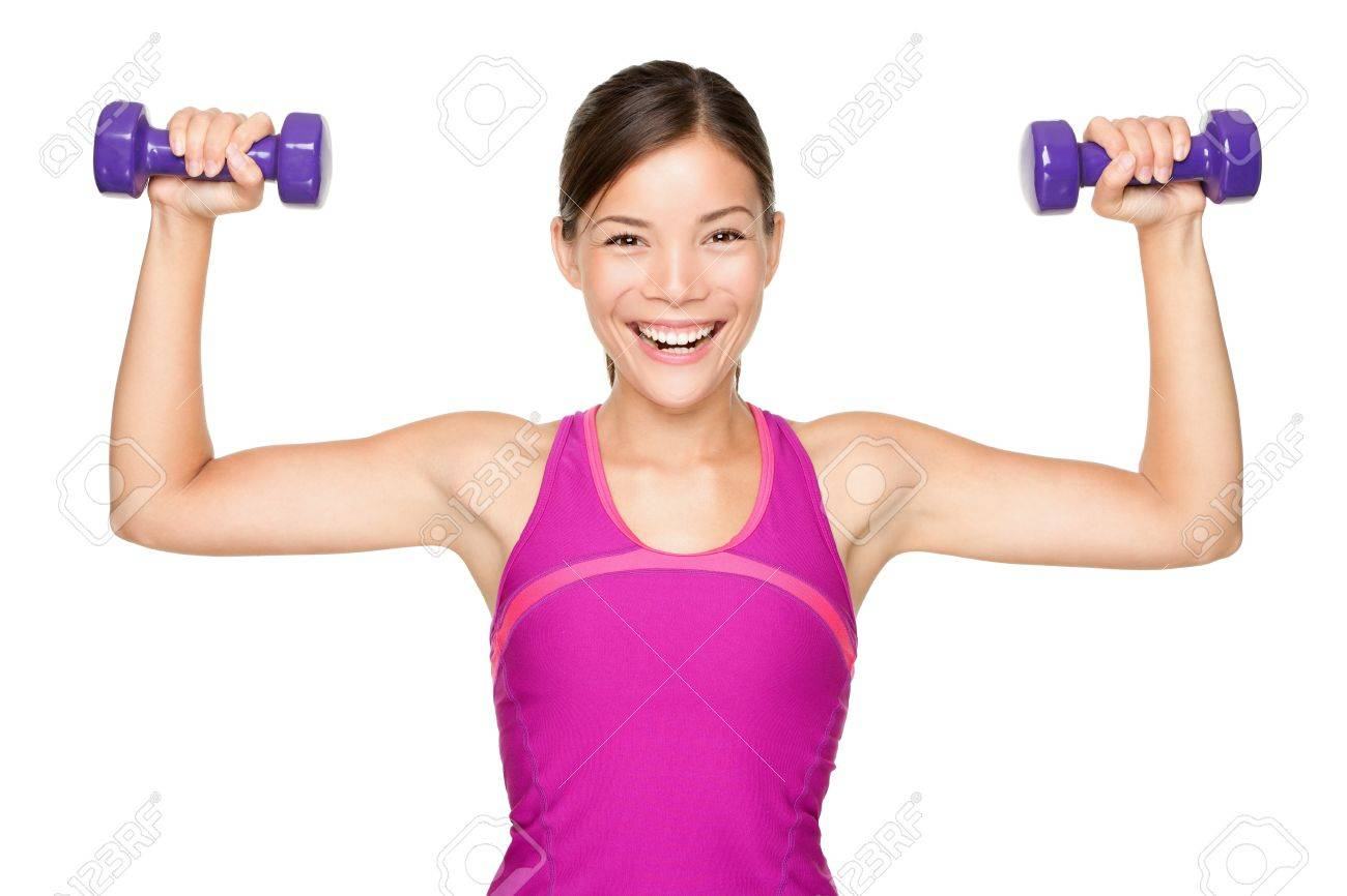 Fitness woman lifting weights smiling happy isolated on white background. Stock Photo - 12344074