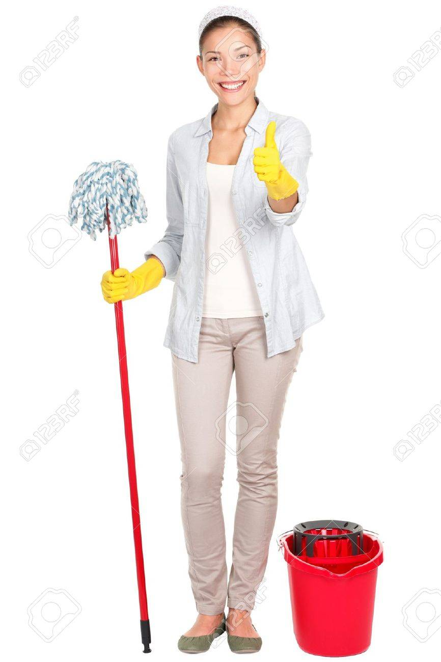 Woman cleaning, happy and smiling giving thumbs up success sign after washing floor with mop. Stock Photo - 12357136