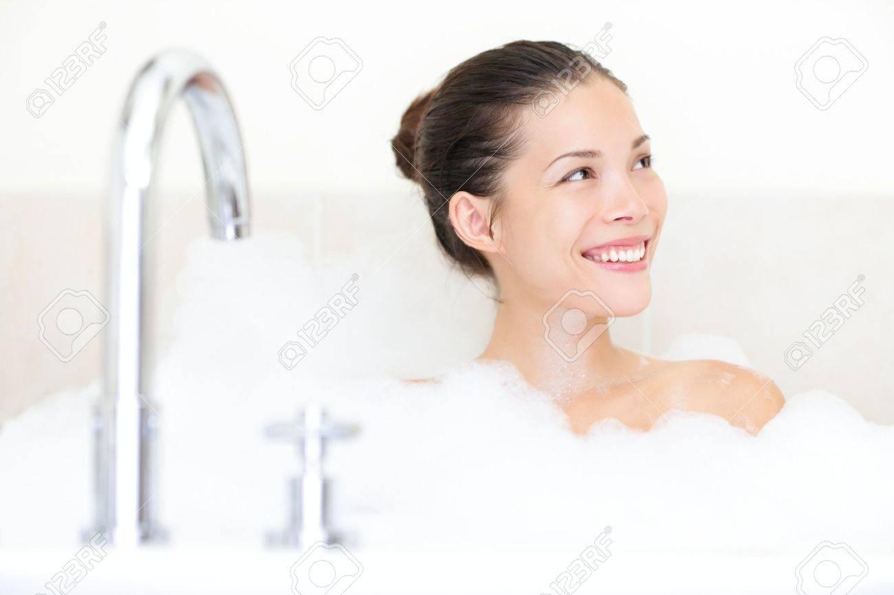 Bath woman enjoying bathtub with bath foam smiling happy. Stock Photo - 12357190