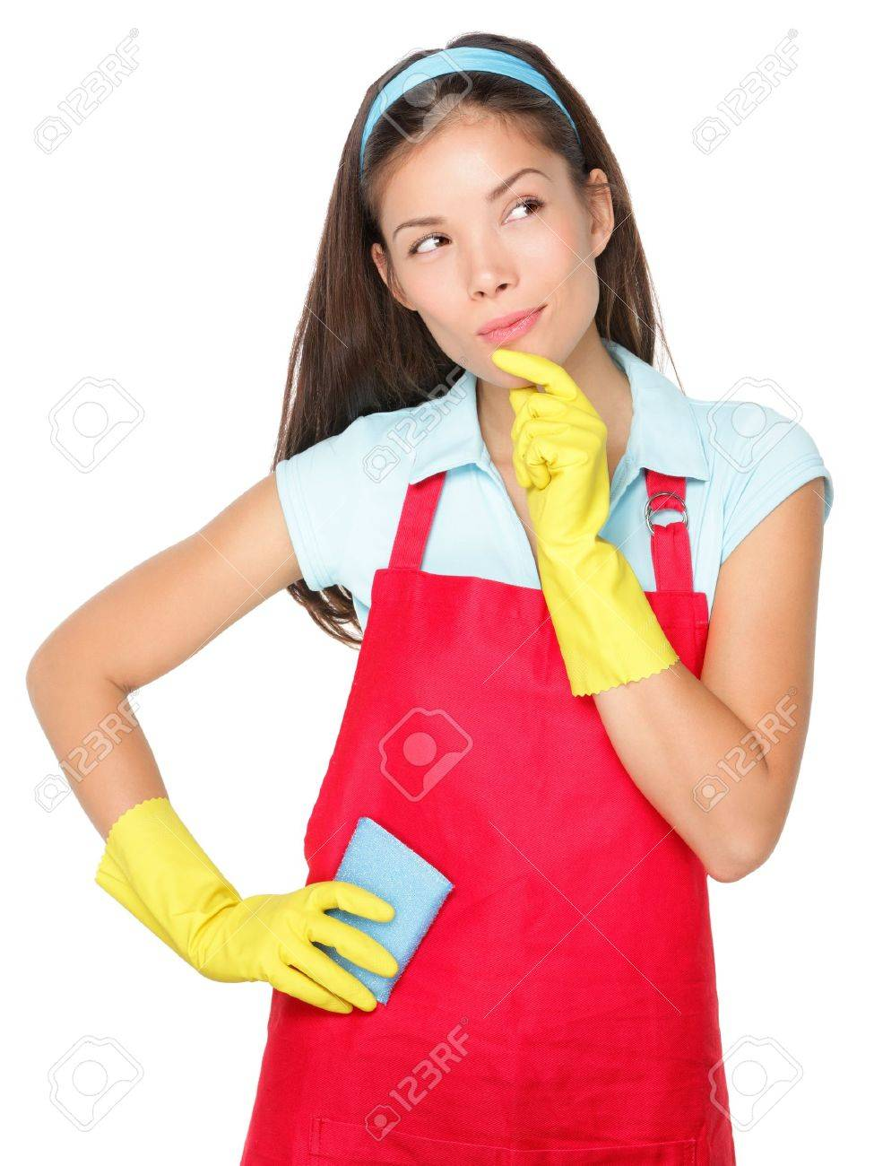 White gloves apron cleaning services - Cleaning Lady Thinking Isolated On White Background Stock Photo 12357158