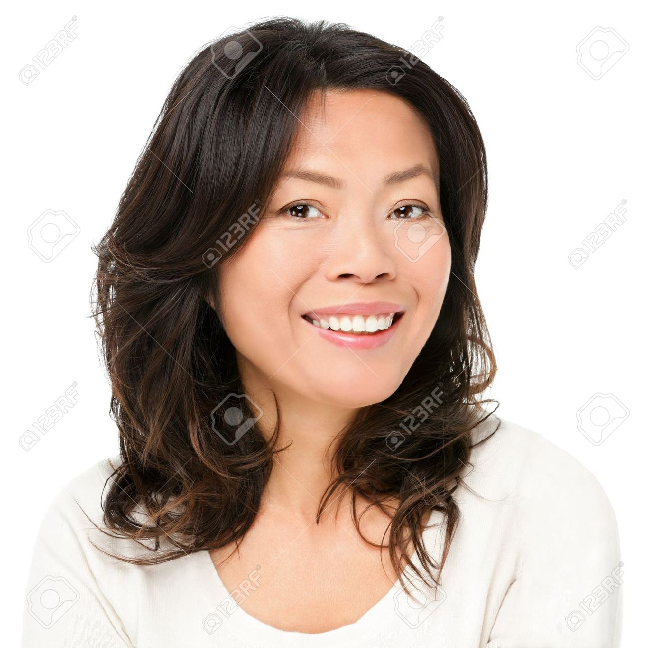 asian woman smiling happy portrait beautiful mature middle aged