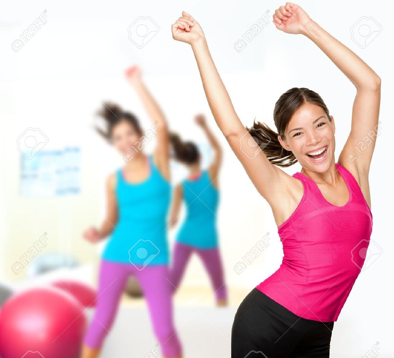 fitness dance class aerobics women dancing happy energetic in