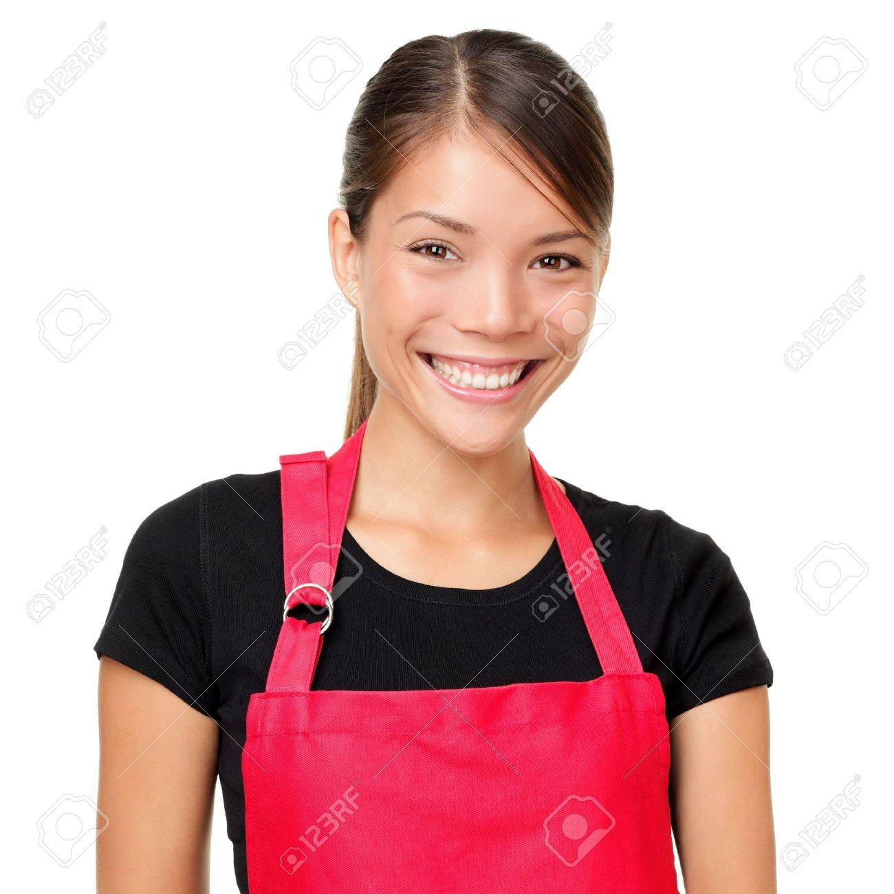 Small business owner portrait  Isolated portrait of young entrepreneur wearing apron  Mixed-race Asian Chinese   Caucasian female shop owner or alike isolated on white background Stock Photo - 15892015